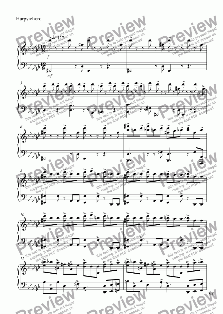 page one of the Harpsichord part from Piano No.4 arr. Harpsichord w. Christmas Edits