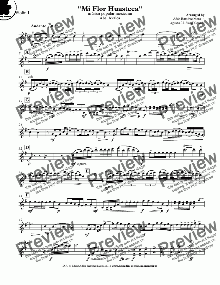 "page one of the Violín I part from ""Mi Flor Huasteca"""