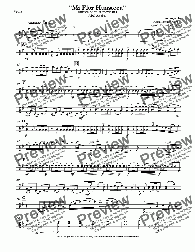 "page one of the Viola part from ""Mi Flor Huasteca"""