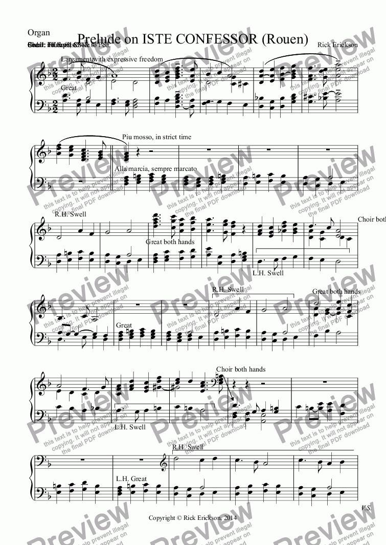 page one of the Organ part from Prelude on ISTE CONFESSOR (Rouen)