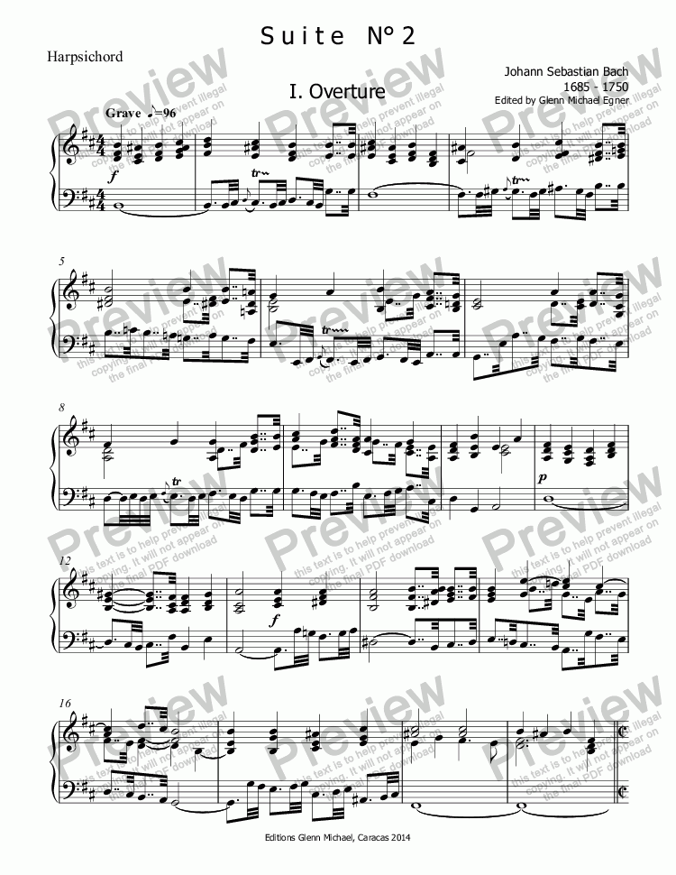 page one of the Harpsichord part from Bach Suite  N° 2  in b minor for flute & strings