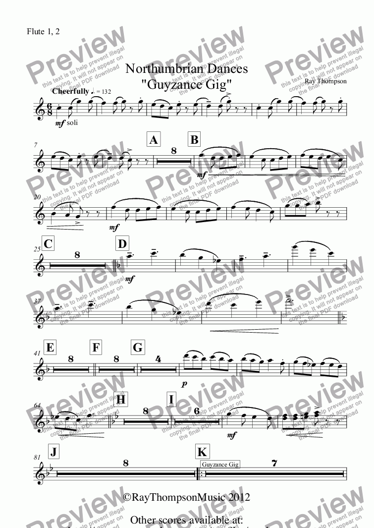 "page one of the Flute 1, 2 part from Northumbrian Dances ""Guyzance Gig"" including""The Keel Row"""