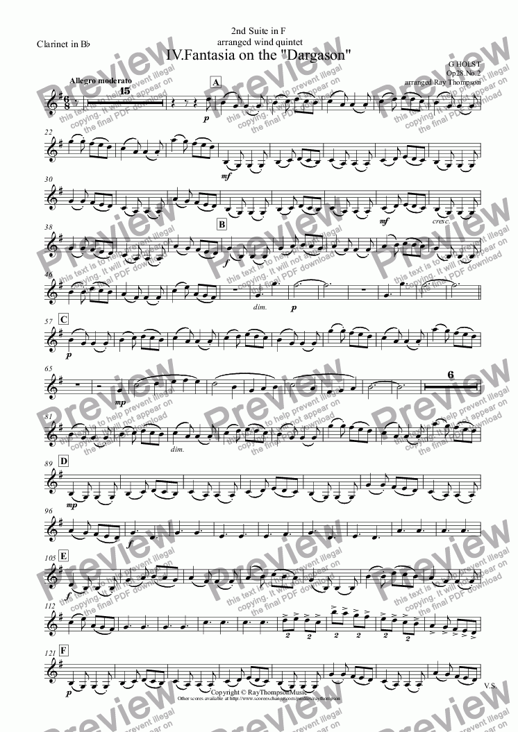 "page one of the Clarinet in B^b part from Holst: Second Suite in F for Military Band:  IV.Fantasia on the ""Dargason"" - wind quintet"