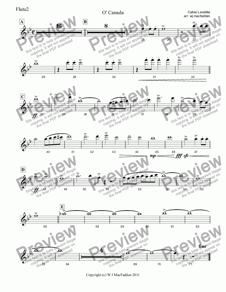 page one of the Flute2 part from O' Canada