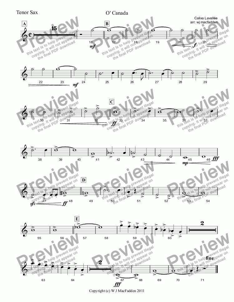 page one of the Tenor Sax part from O' Canada