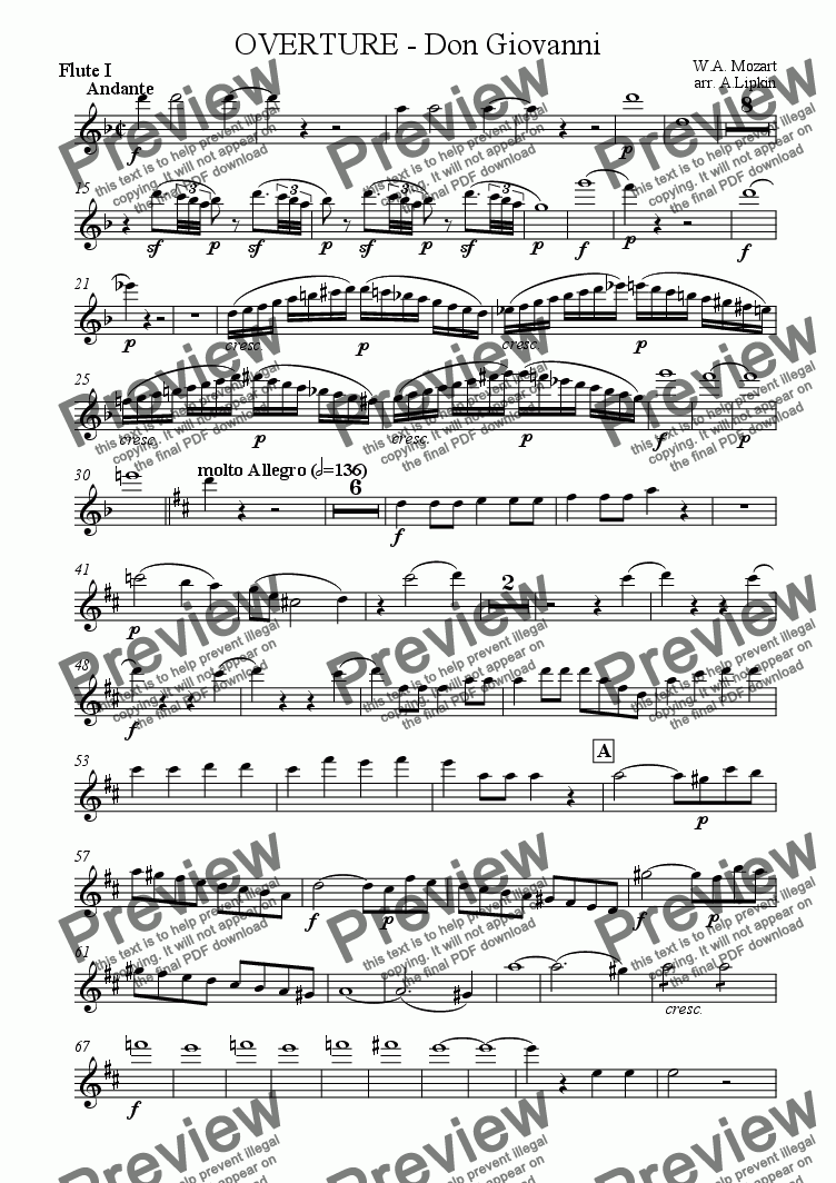 page one of the Flute I part from Overture - Don Giovanni
