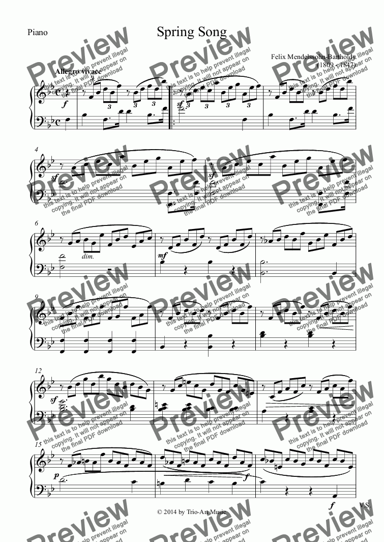 page one of the Piano part from Spring Song for horn and piano