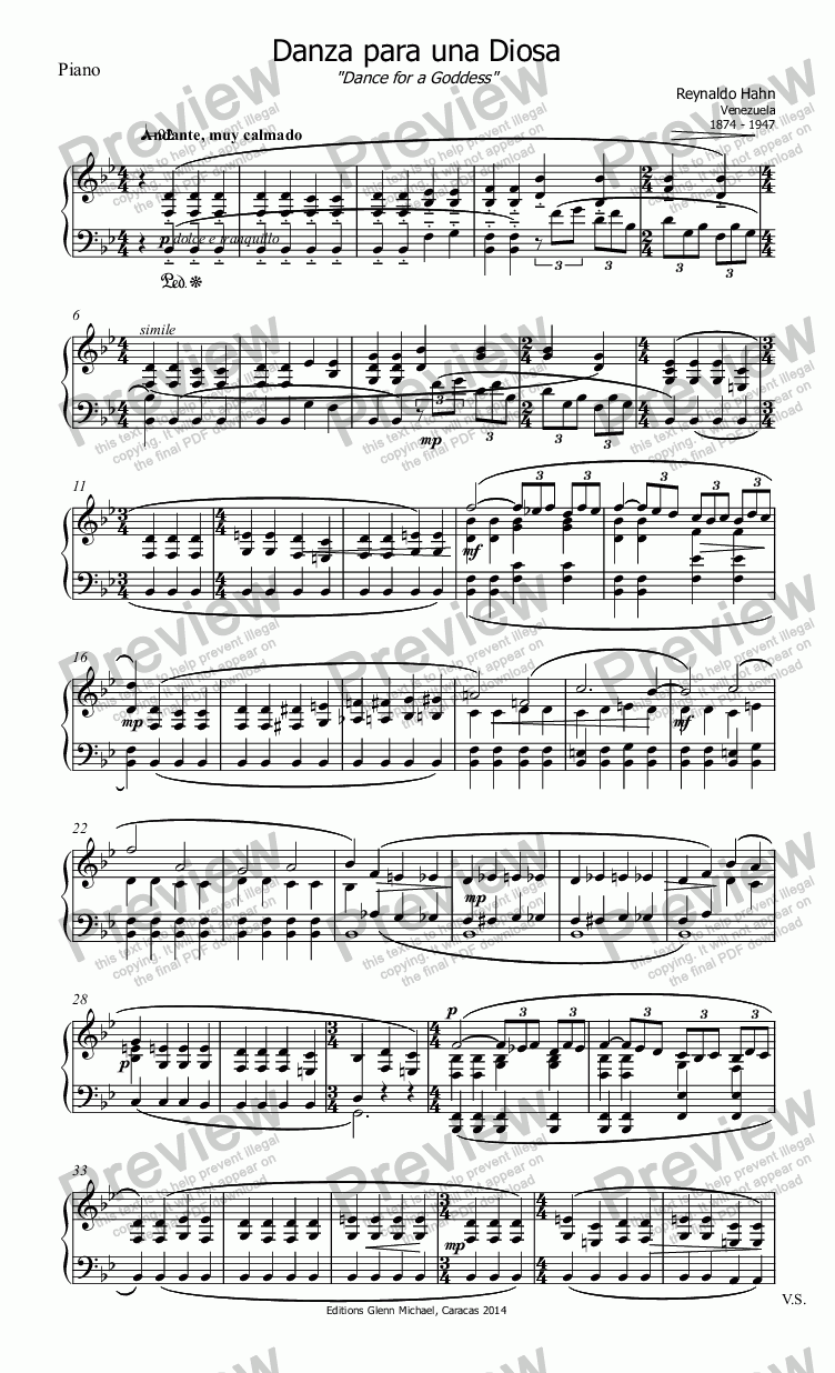 page one of the Piano part from Hahn Dance for a Goddess flute & pno