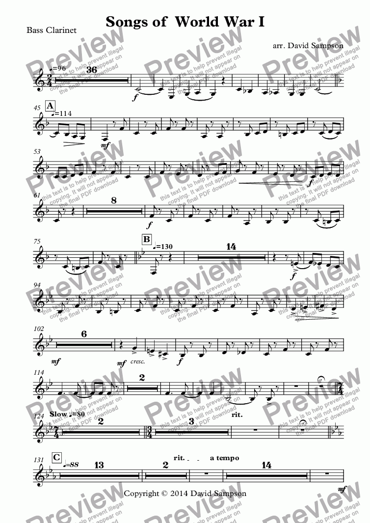 page one of the Bass Clarinet part from Songs of  World War I