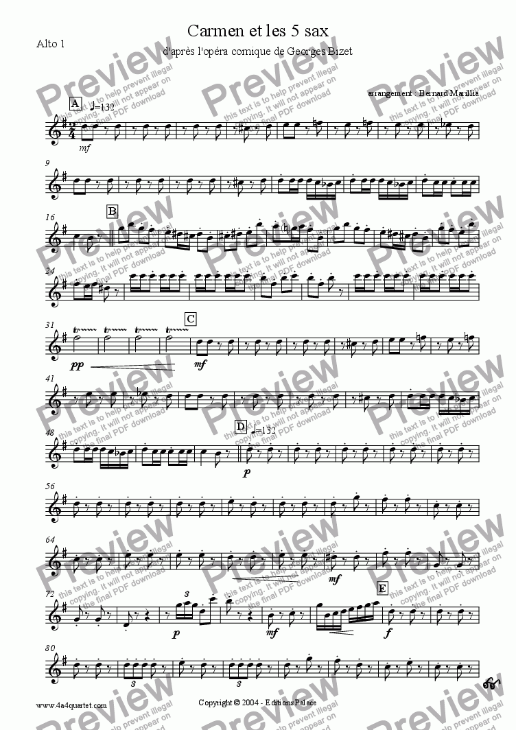 page one of the Alto Sax 1 part from Bizet - Carmen et les 5 sax (Sax quintet)