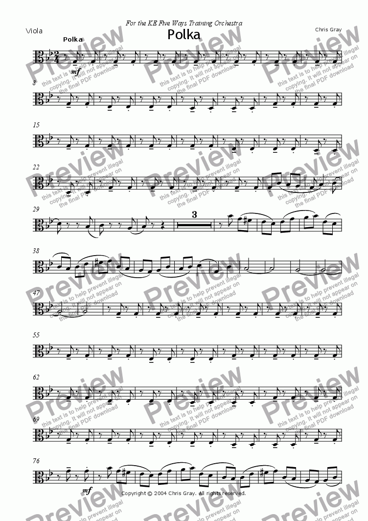 "page one of the Viola part from ""Polka"" for orchestra"