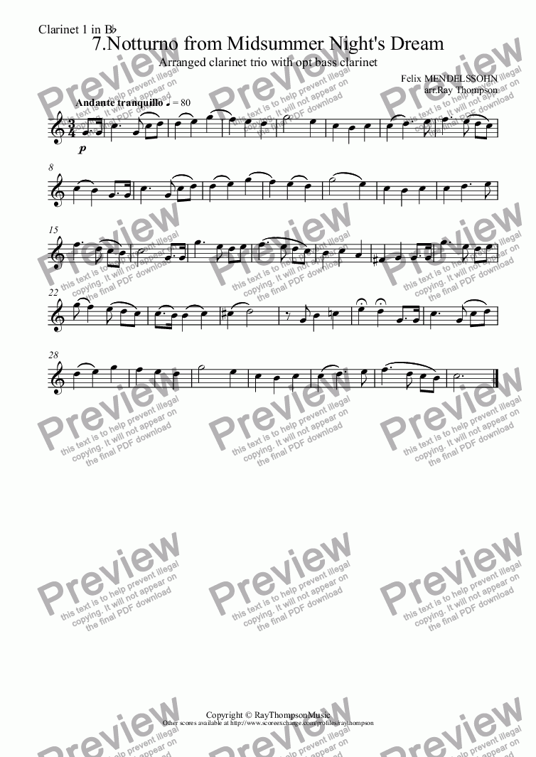 page one of the Clarinet 1 in B^b part from Midsummer Night's Dream: 7.Notturno (Nocturne)(short version:horn solo) arranged clarinet trio (& opt bass cl)