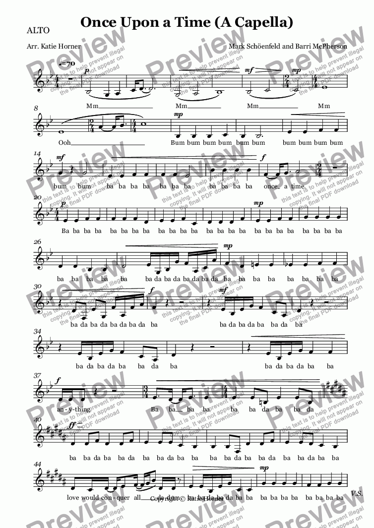 page one of the ALTO part from Once Upon a Time (A Capella)