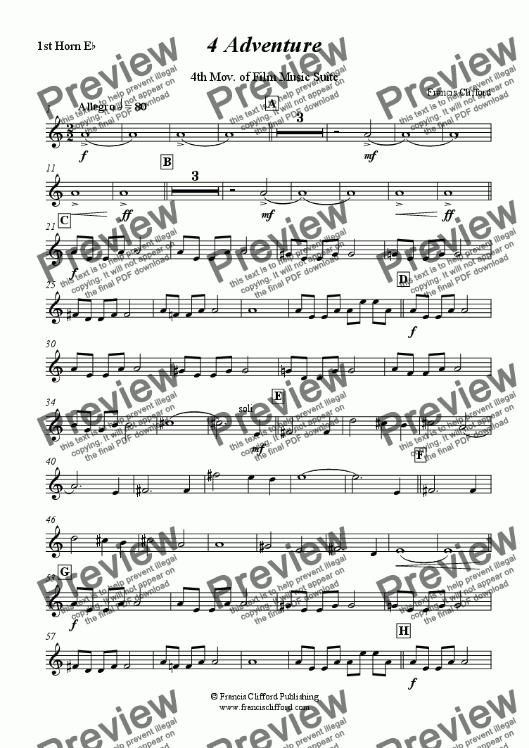 page one of the 1st Eb Horn part from Adventure (4th Mov. of Film Music Suite - Brass Band)
