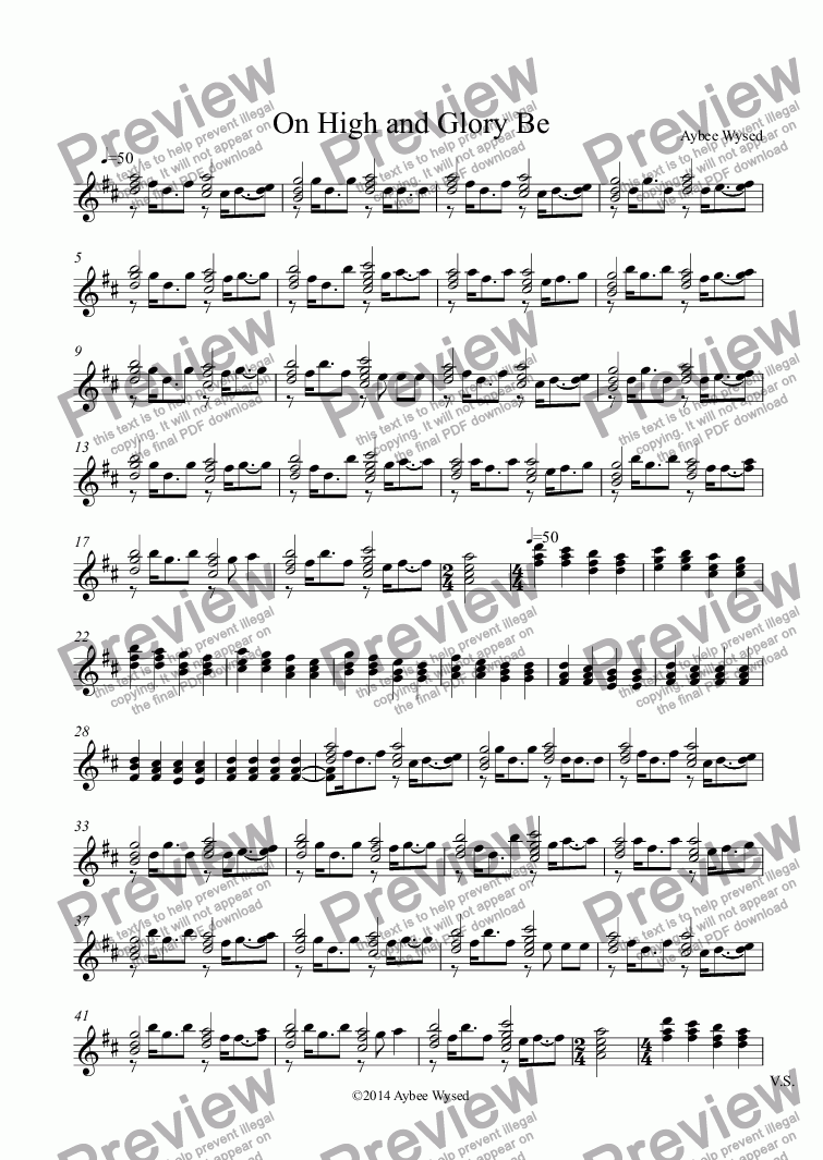 page one of the Guitar part from On High and Glory Be