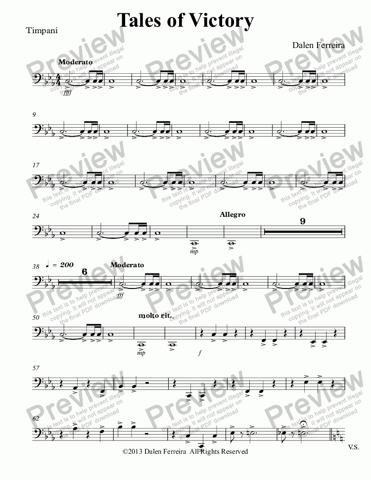 page one of the Timpani part from Tales of Victory