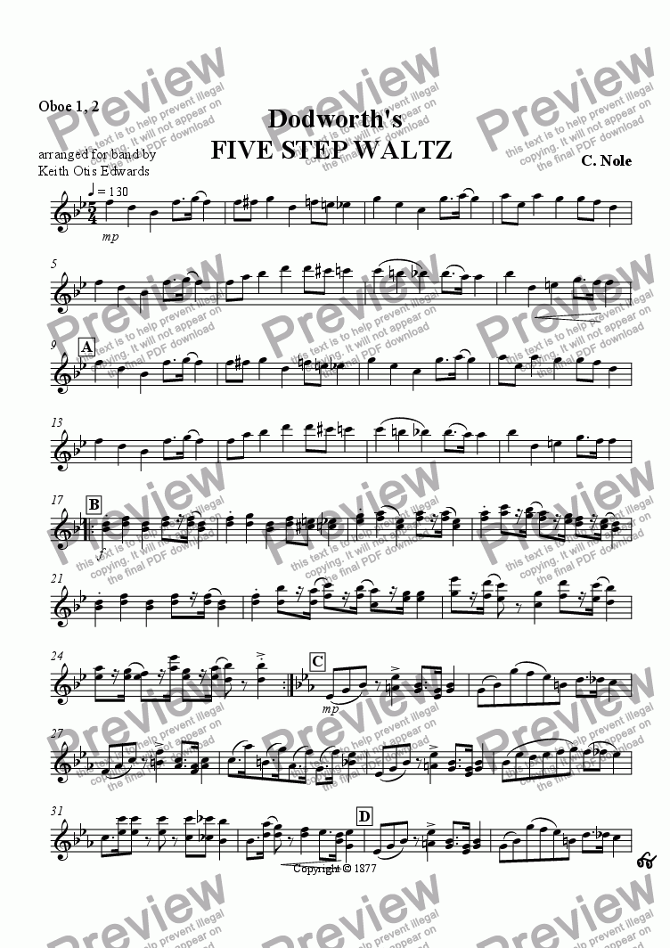 page one of the Oboes part from Dodworth's Five Step Waltz