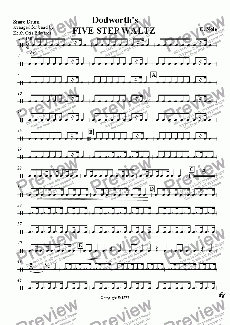 page one of the Snare Drum part from Dodworth's Five Step Waltz
