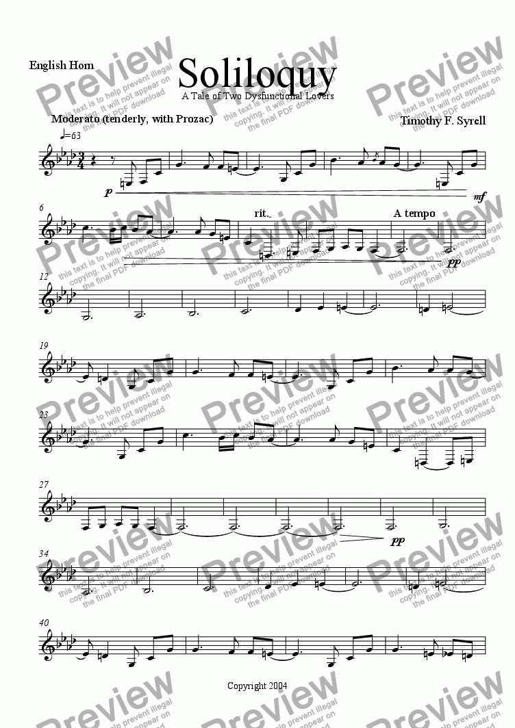 page one of the English Horn part from Soliloquy - A Tale of Two Dysfunctional Lovers