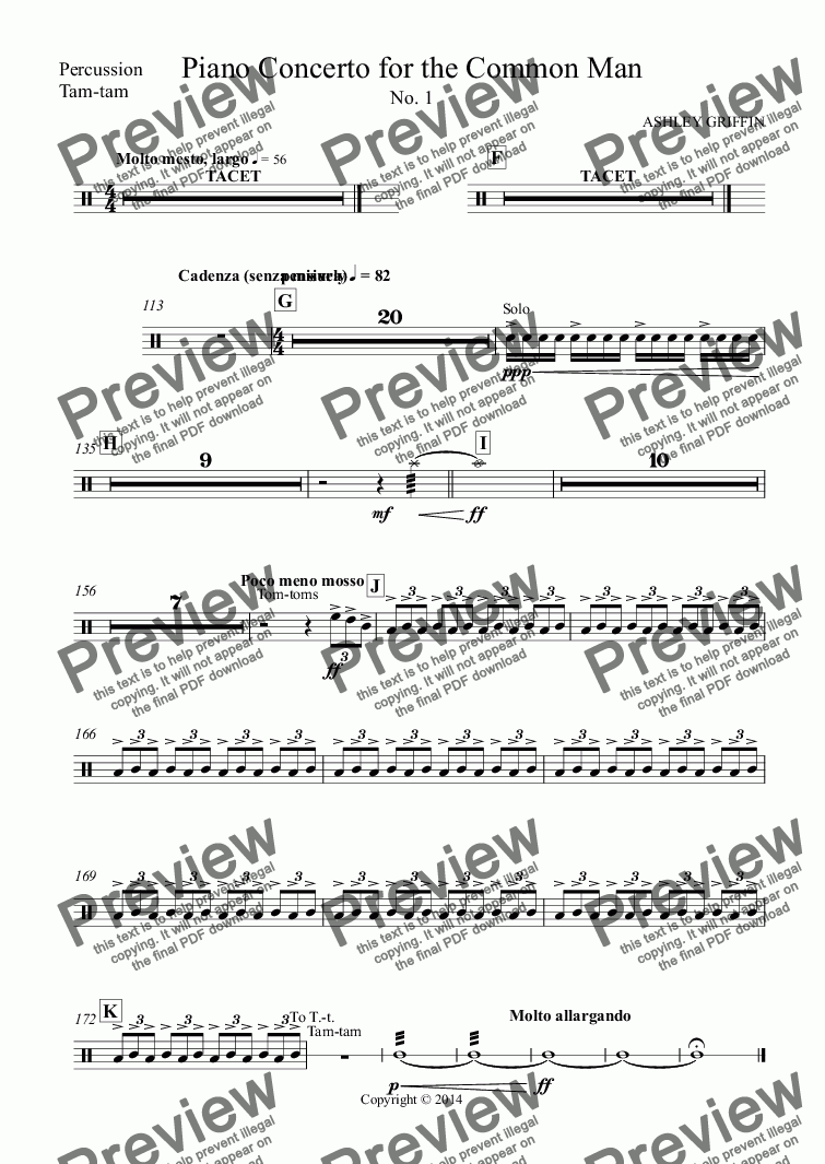 page one of the Percussion, Tam-tam part from Piano Concerto for the Common Man