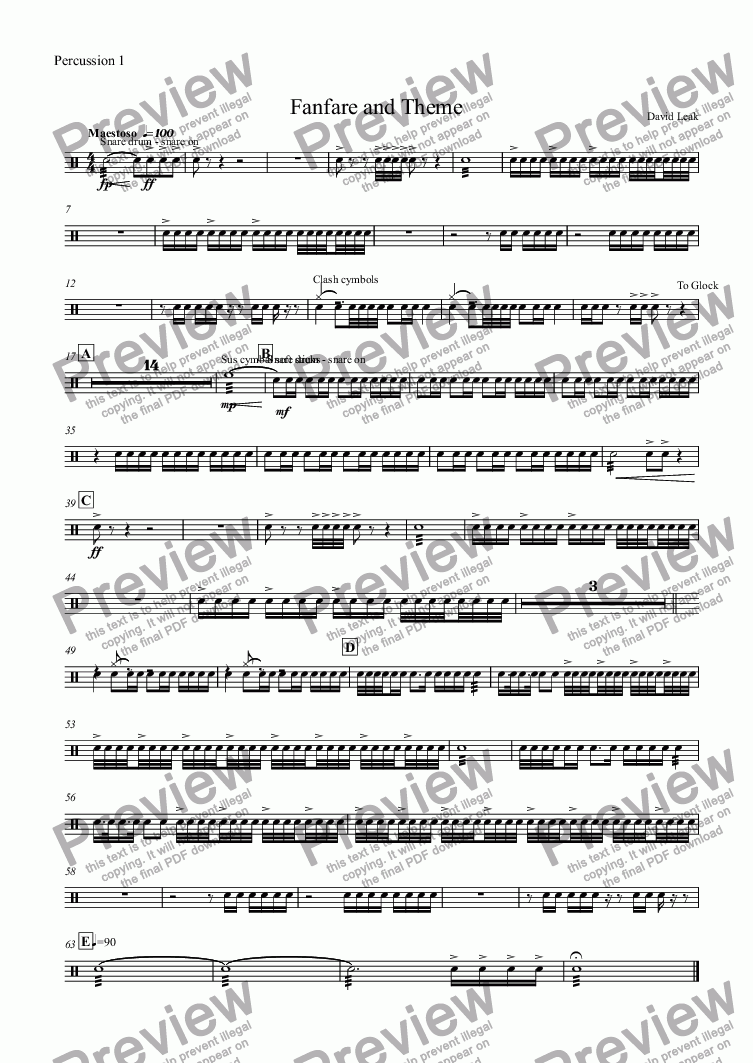 page one of the Percussion 1 part from Fanfare and Theme