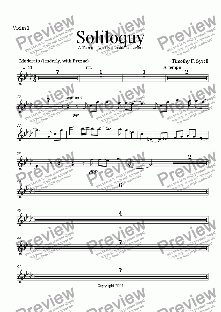 page one of the Violin 1 part from Soliloquy - A Tale of Two Dysfunctional Lovers