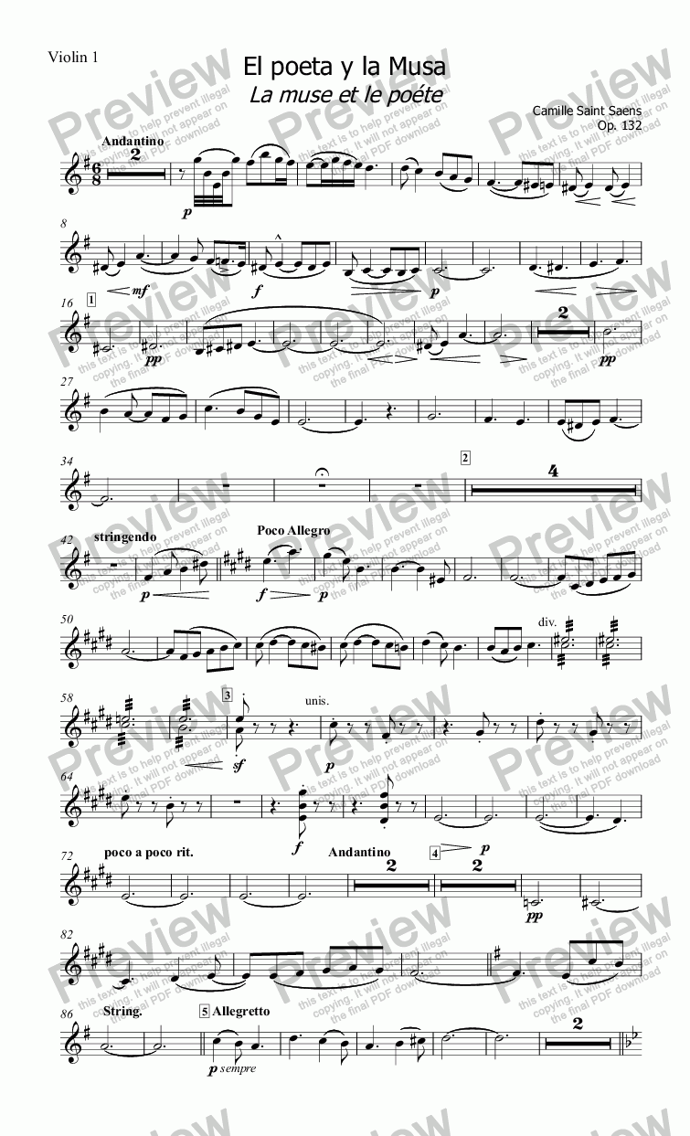 page one of the Violin 1 part from El poeta y la Musa La muse et le poéte