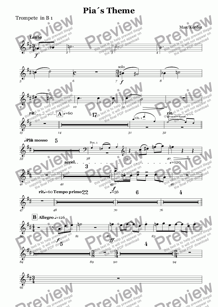 page one of the Trompete  in B 1 part from Pia´s Theme