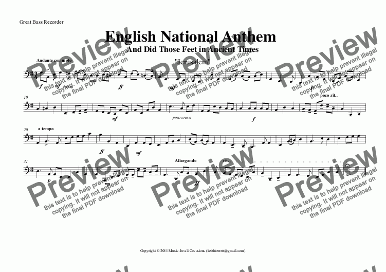 page one of the Great Bass Recorder part from English National Anthem (And Did Those Feet in Ancient Times) for Recorder Orchestra
