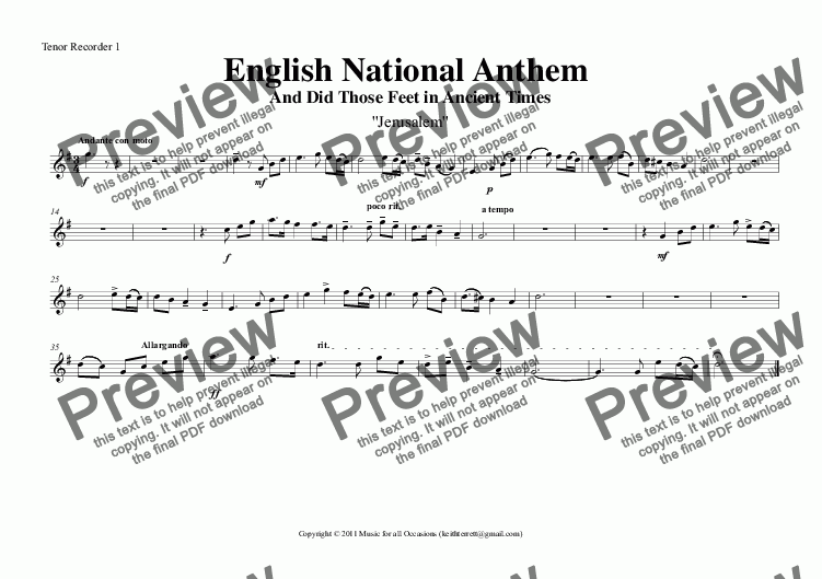 page one of the Tenor Recorder 1 part from English National Anthem (And Did Those Feet in Ancient Times) for Recorder Orchestra