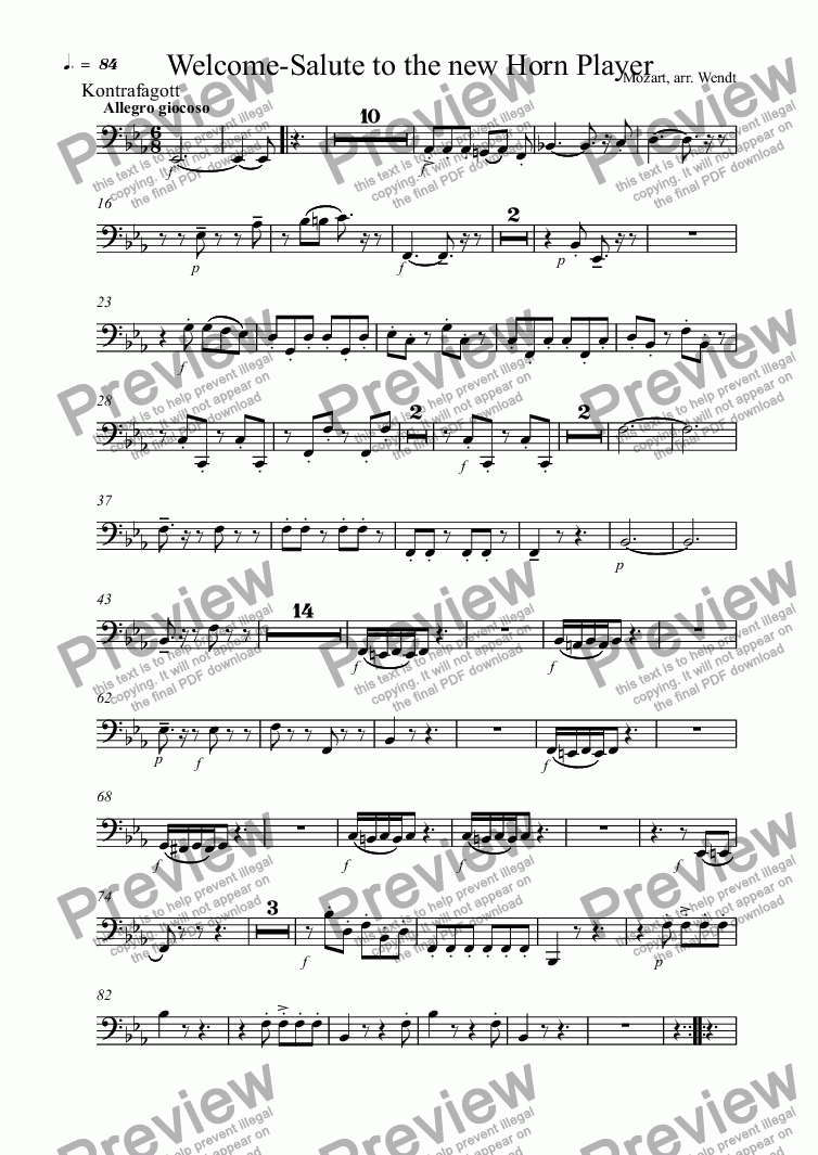 page one of the Kontrafagott part from Welcome-Salute to the new Horn Player