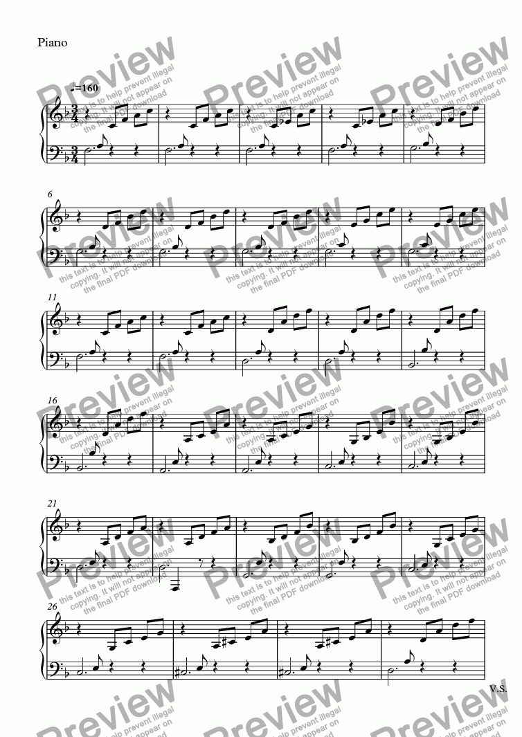 page one of the Piano part from untitled