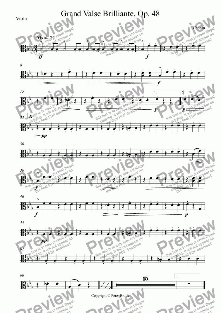 page one of the Viola part from Grand Valse Brilliante, Op. 48