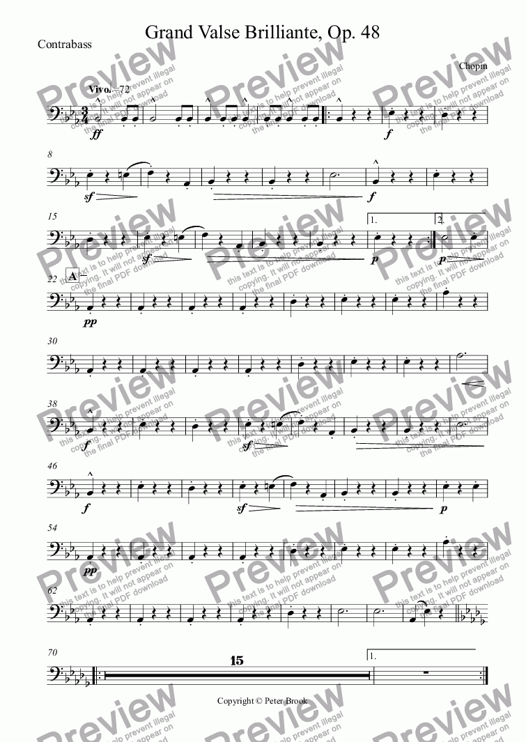 page one of the Contrabass part from Grand Valse Brilliante, Op. 48