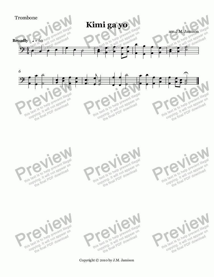 page one of the Trombone part from Kimi ga yo (Japan's National Anthem)