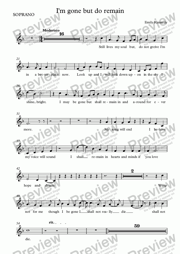 page one of the SOPRANO part from I'm gone but do remain