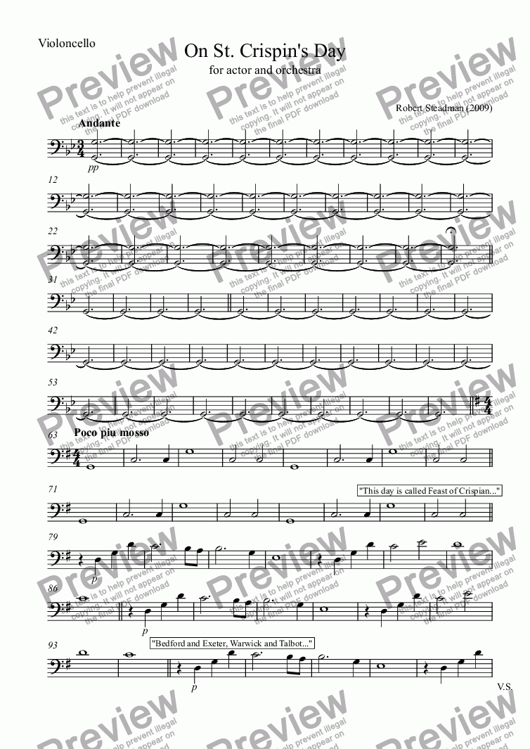 page one of the Violoncello part from On St. Crispin's Day