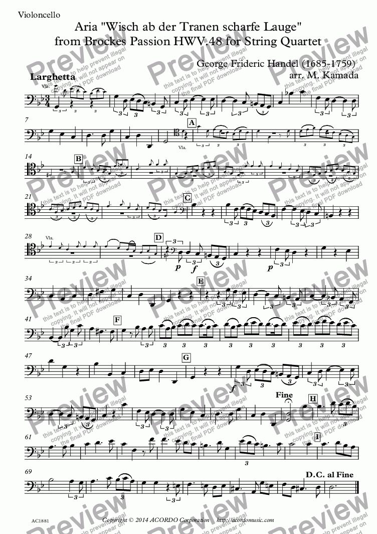 "page one of the Violoncello part from Aria ""Wisch ab der Tranen scharfe Lauge"" from Brockes Passion HWV.48 for String Quartet"