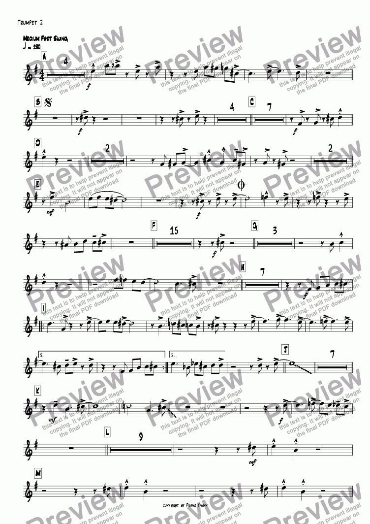 page one of the 2.Trumpet part from Filthy Flutes