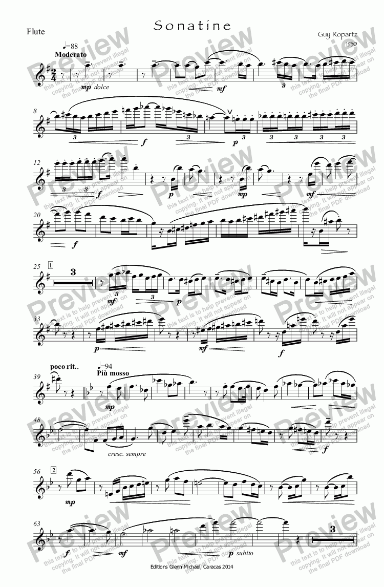 page one of the Flute part from French Sonatine
