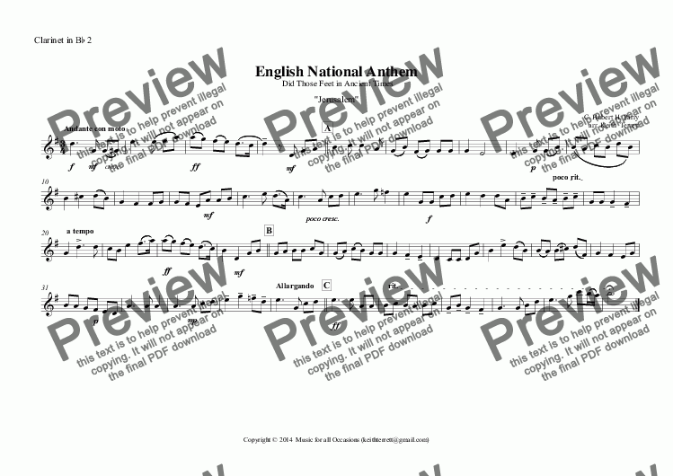 page one of the Clarinet in B^b 2 part from English National Anthem (Did Those Feet in Ancient Times) for Clarinet Quintet