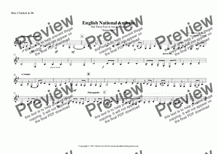 page one of the Bass Clarinet in B^b part from English National Anthem (Did Those Feet in Ancient Times) for Clarinet Quintet