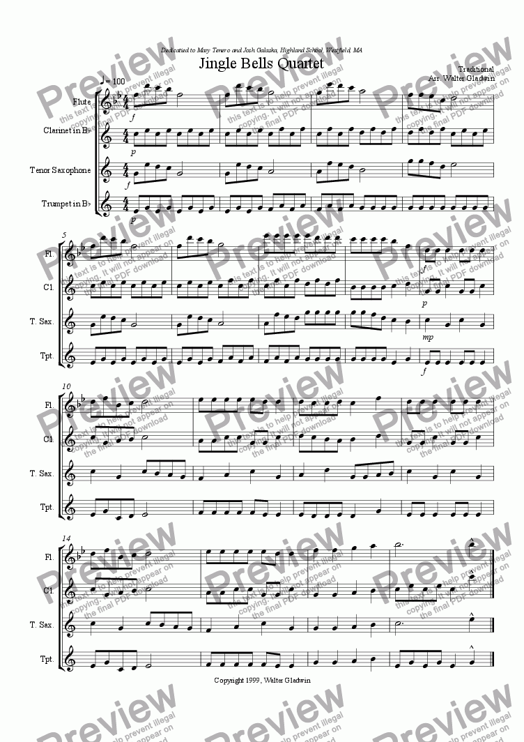 page one of the Jingle Bells Quartet - mix part from Jingle Bells Trio/Quartet (with piano acc.)