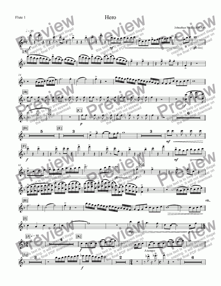 page one of the Flute 1 part from Hero