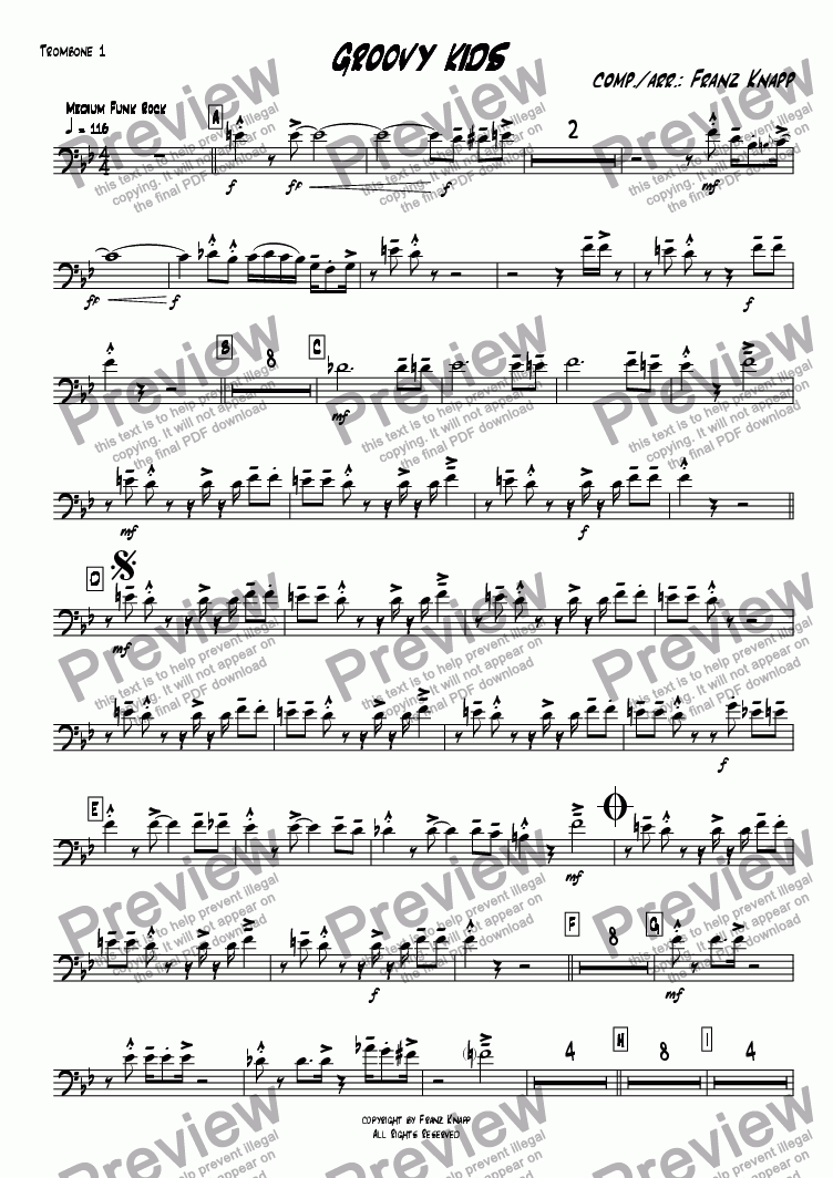 page one of the Trombone 1 part from Groovy Kids