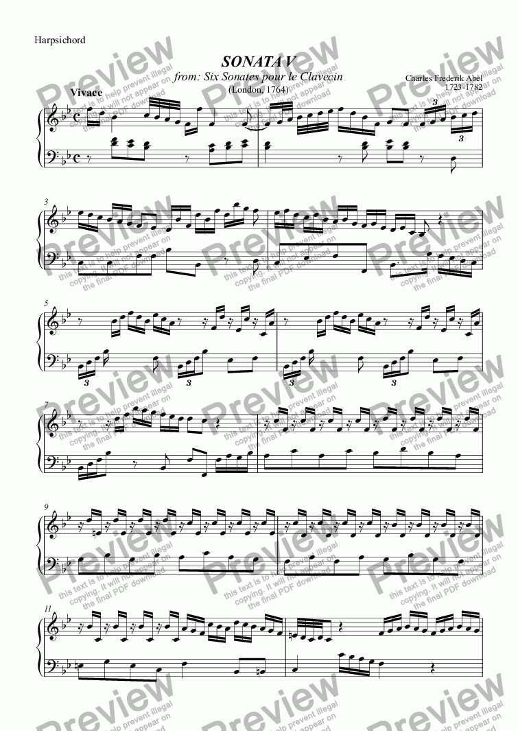 page one of the Harpsichord part from Sonata 5 (Abel)