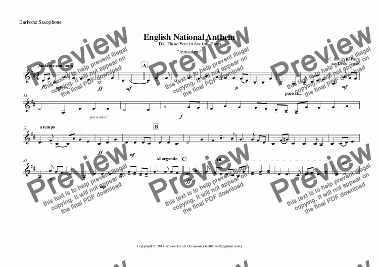 page one of the Baritone Saxophone part from English National Anthem (Did Those Feet in Ancient Times) for Saxophone Quintet