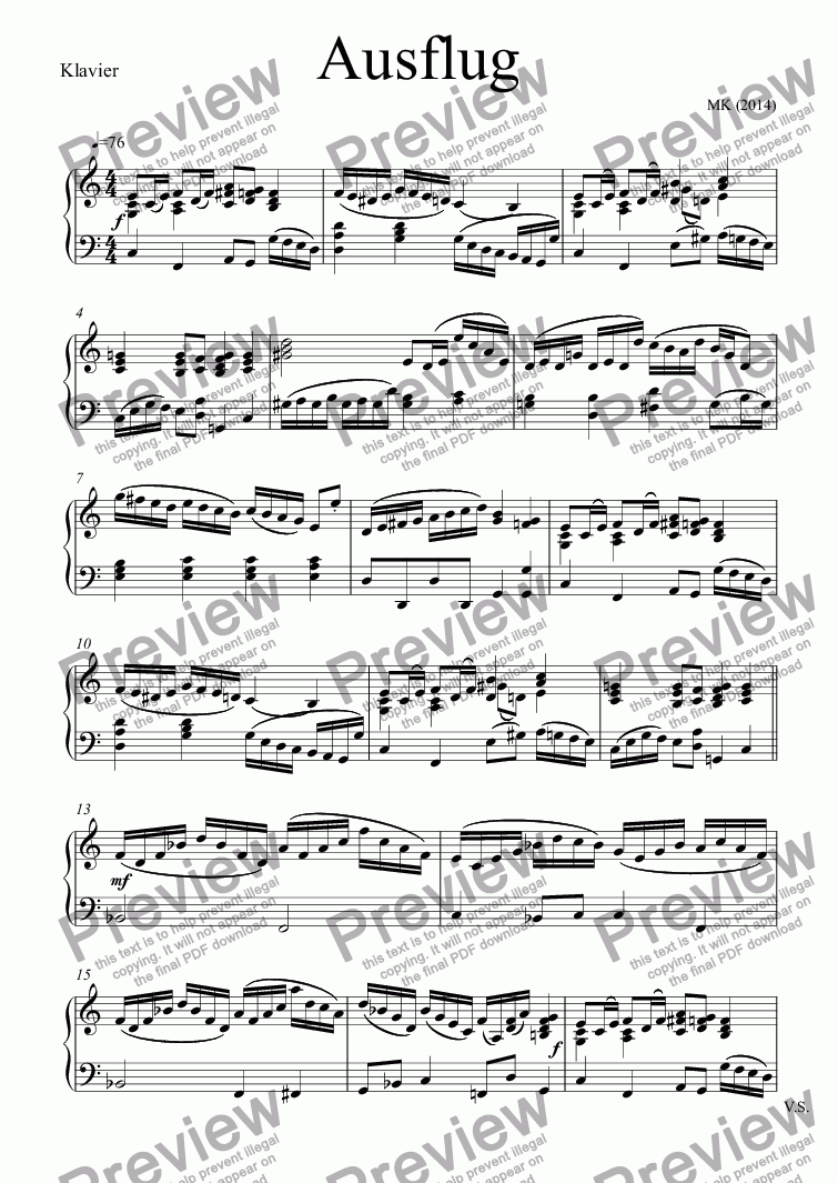 page one of the Klavier part from Ausflug