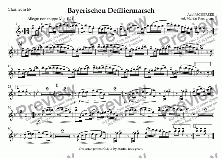 page one of the Clarinet in E^b part from Bayerischer Defiliermarsch