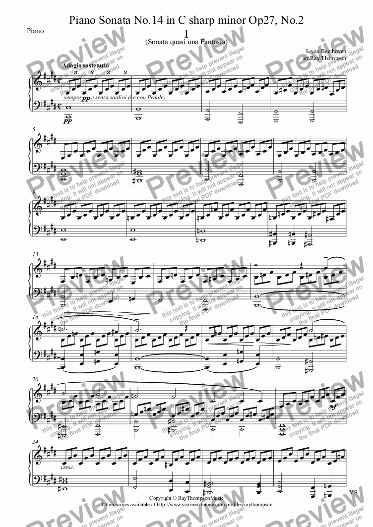 page one of the Piano part from Beethoven: Piano Sonata No.14 in C sharp minor Op27, No.2 Mvt. I.Adagio Sostenuto (Moonlight Sonata) arranged clarinet and piano